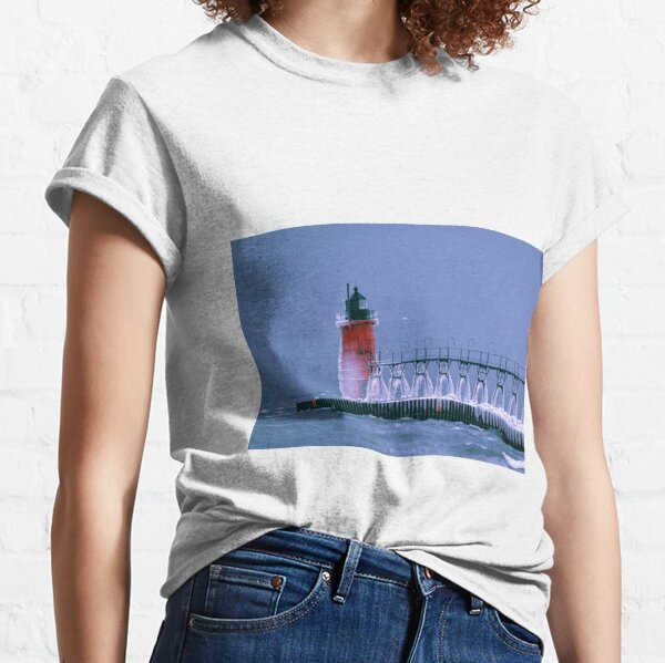 Frozen South Haven Lighthouse Classic T-Shirt