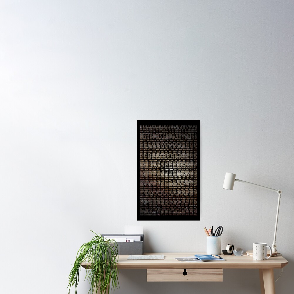 Prime Numbers List With Space Background Poster