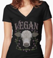 VEGAN Women's Fitted V-Neck T-Shirt