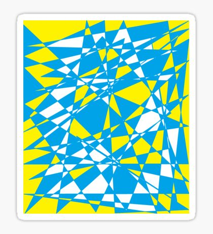 Yellow turquoise polygon Sticker