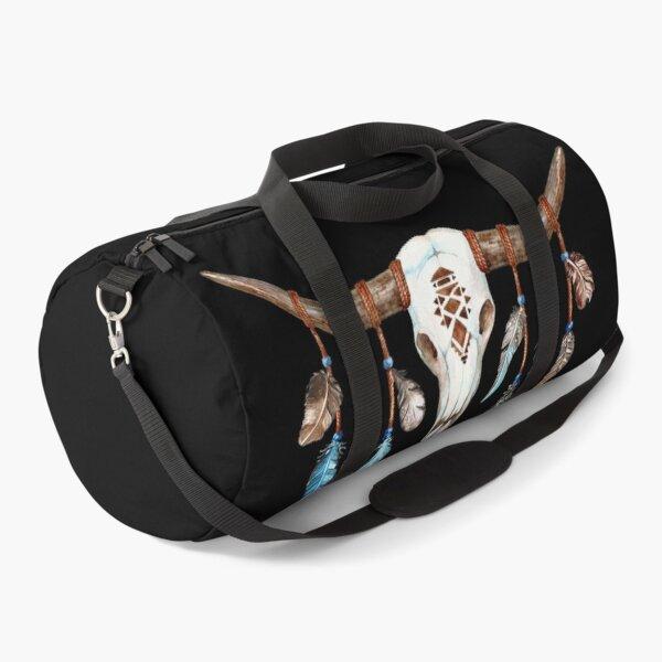 Texas Longhorn Skull Bull Boho Duffle Bag