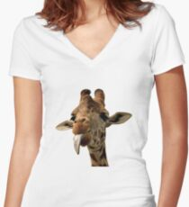 Giraffe with Cute Tongue! Women's Fitted V-Neck T-Shirt