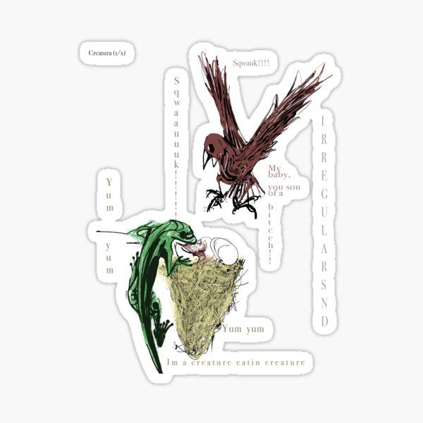 Bird Defending Nest From Lizard Eating Egg Sticker