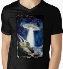Ufo over the Shire.. Mens V-Neck T-Shirt
