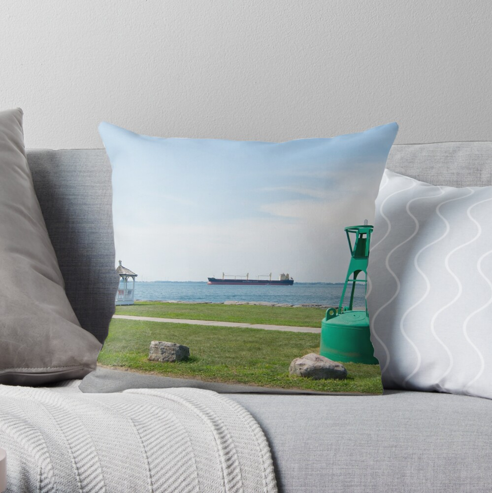 Ship Watching at East End Park Throw Pillow