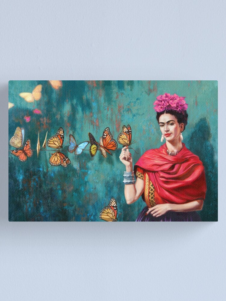 Alternate view of Frida and butterflies Canvas Print