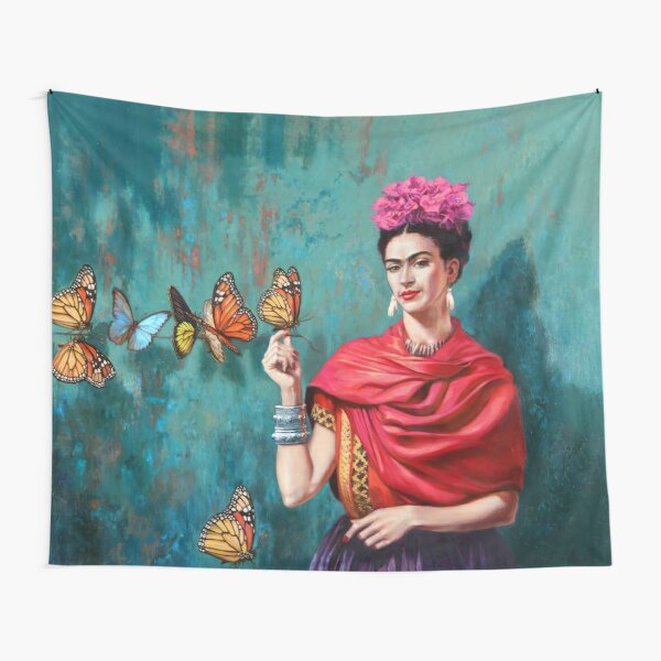 Frida and butterflies Tapestry