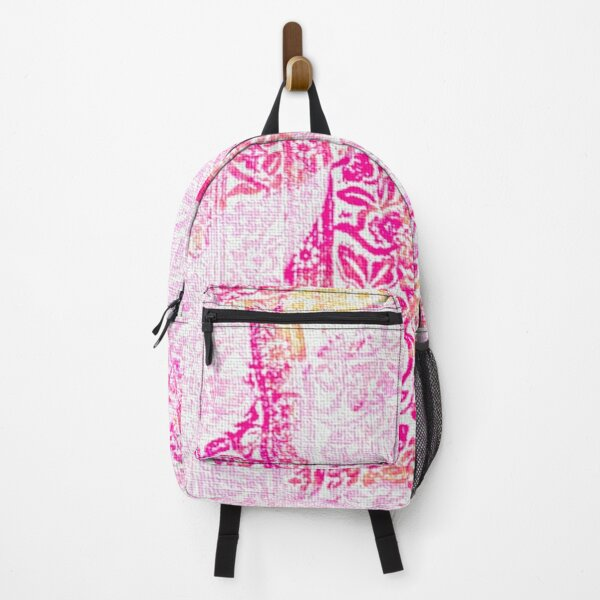 Backpack Blooming Floral Pink Background Canvas School Bags Laptop Daypack