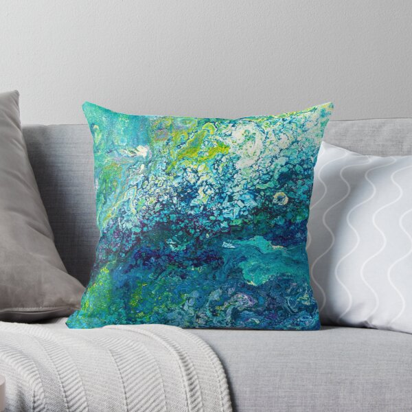 Turquoise Flow Throw Pillow
