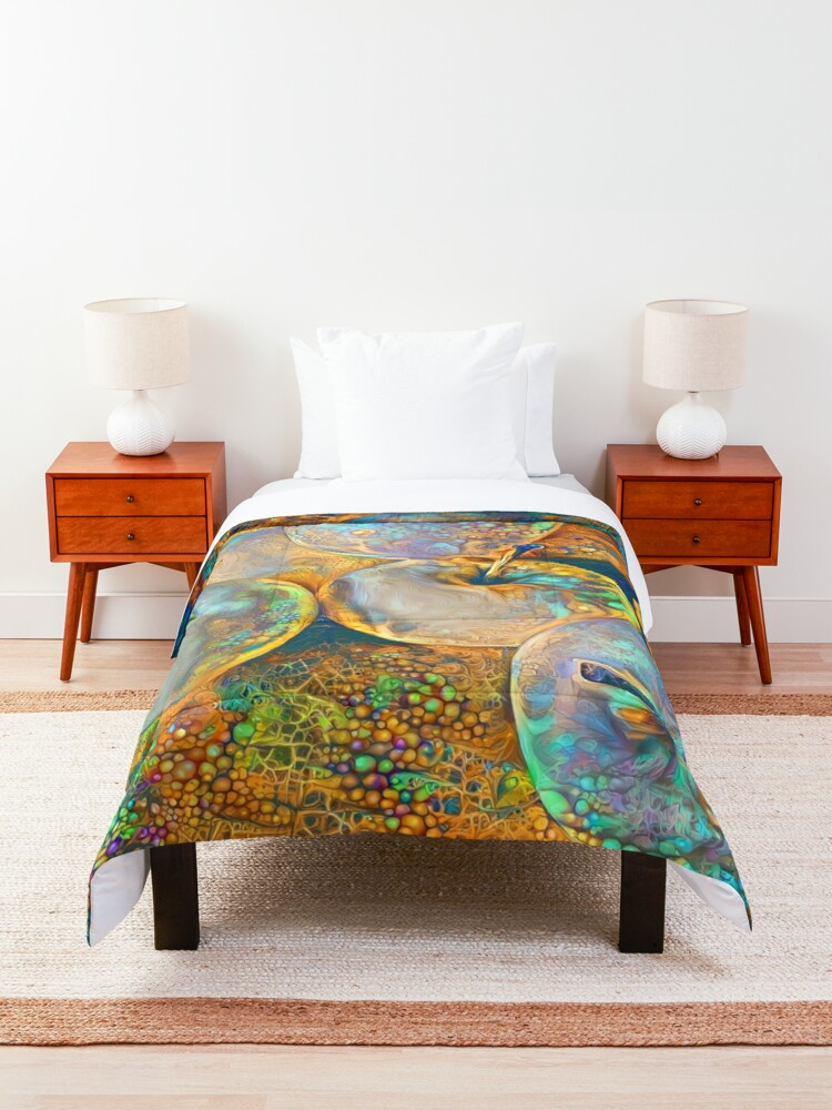 Alternate view of Deep dream Abstraction Comforter