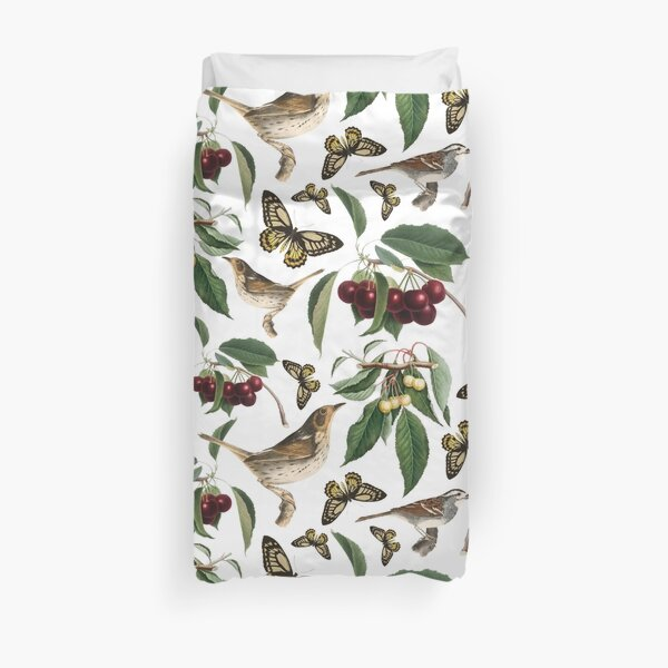 Cherries Butterflies And Birds On The Tree Pattern Duvet Cover