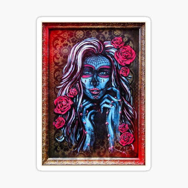 Sugar Skull Girl with Roses Art Sticker