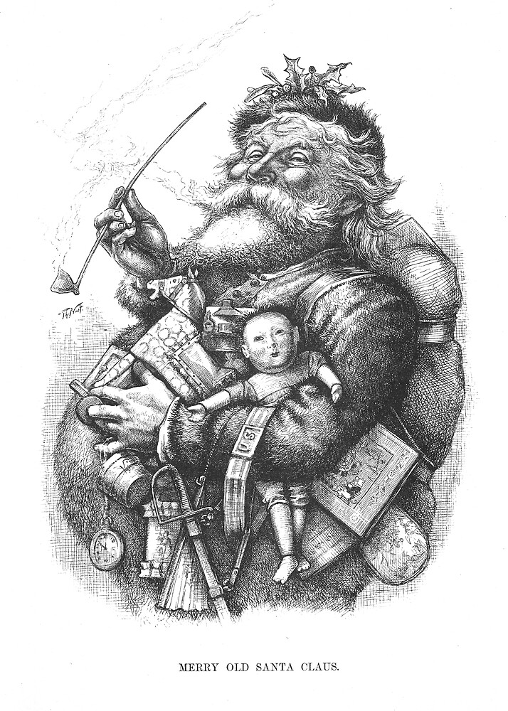 """Vintage Santa Christmas Etching """"Merry Old Santa Claus"""" by Thomas Nast by Douglas E.  Welch"""