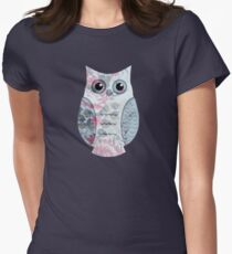 Floral Owl Womens Fitted T-Shirt