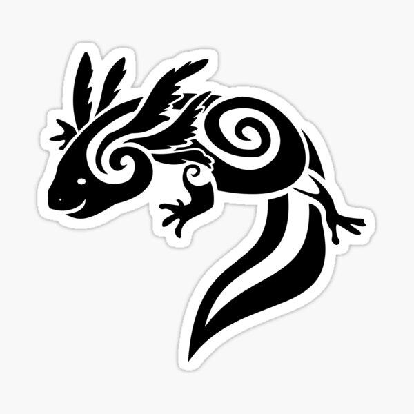 Black Tribal Axolotl Mexican Salamander Sticker