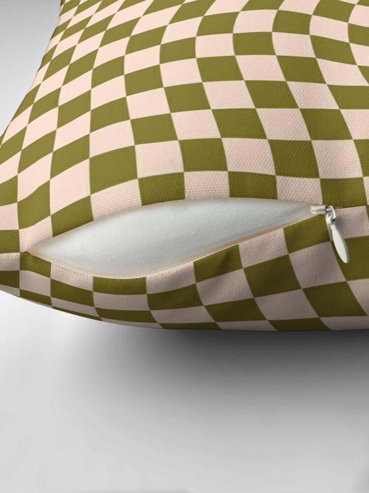 Alternate view of Check VI - Green Moss Twist Throw Pillow