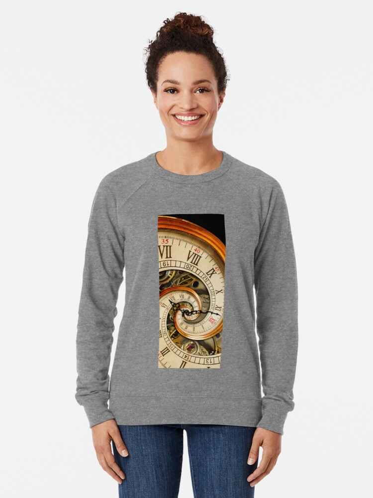 Alternate view of The Clock of the Spiral Whirlpool of Time. Lightweight Sweatshirt