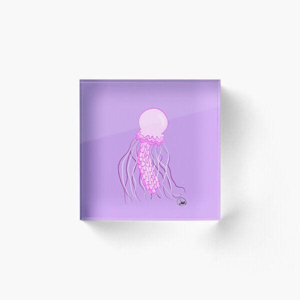 Pink Jellyfish cute Acrylic Block