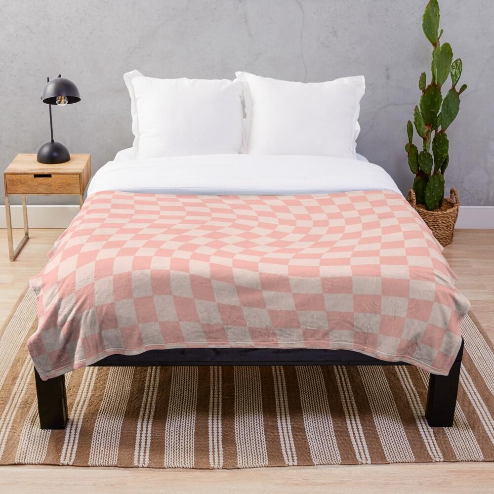 Check VII - Pink Twist Throw Blanket