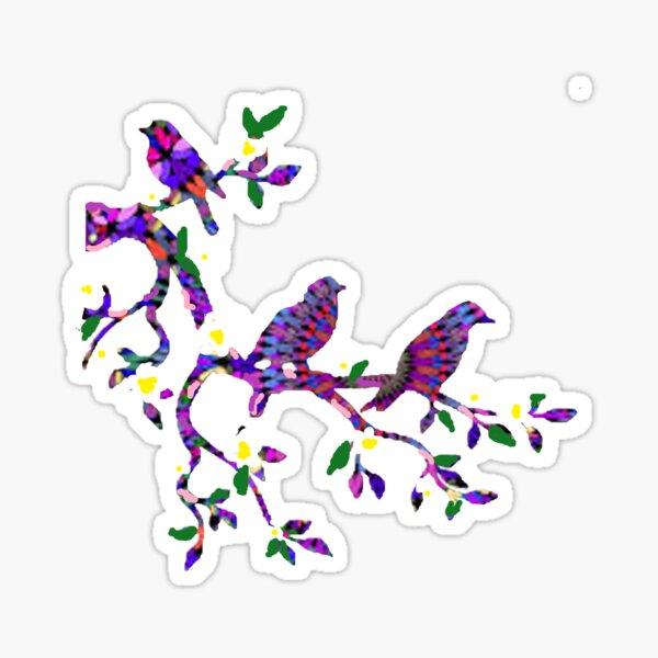 purple mosaic birds branch Sticker