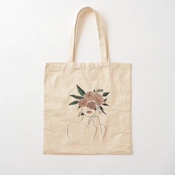 Minimalistic Face Art Cotton Tote Bag