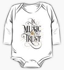 Body de manga larga para bebé En Music We Trust {Distressed Version}