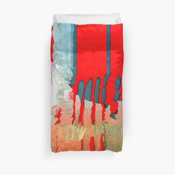 Red paint spill abstract  Duvet Cover