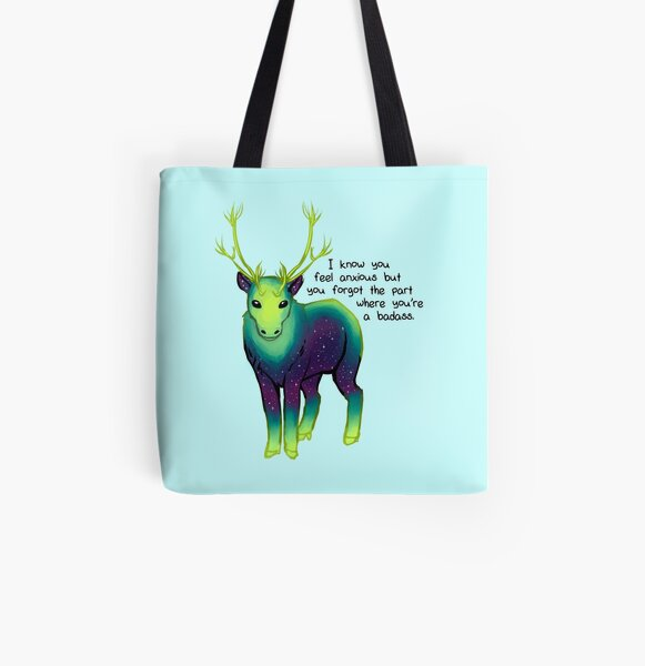 """The Part Where You're a Badass"" Galaxy Caribou All Over Print Tote Bag"