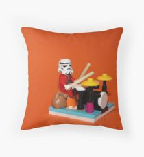 Stormtrooper plays drum Throw Pillow
