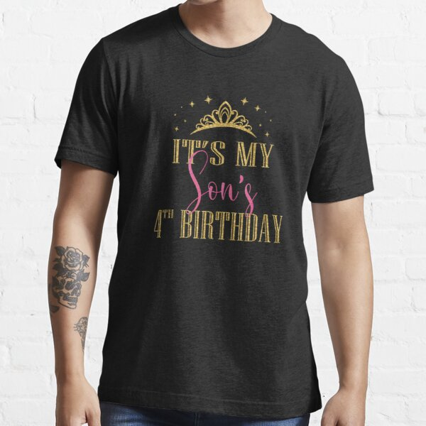 It's My Son's 4th Birthday Boys Party Family Matching graphic Essential T-Shirt