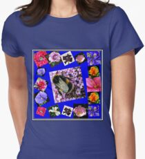 Honey Bee and Summer Flowers Collage Womens Fitted T-Shirt