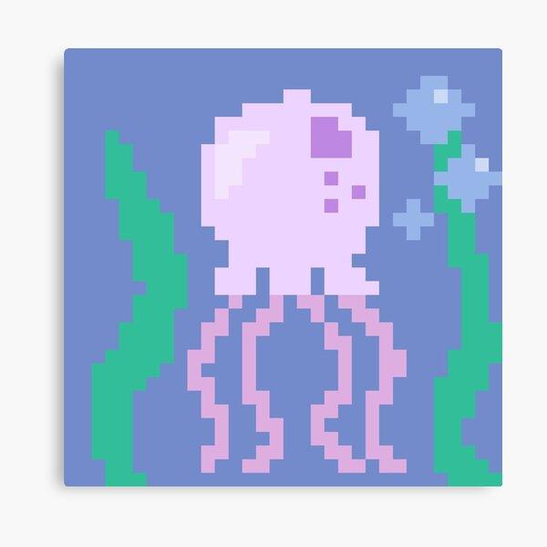 pink pixel jellyfish Canvas Print