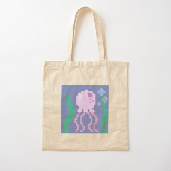 pink pixel jellyfish Cotton Tote Bag