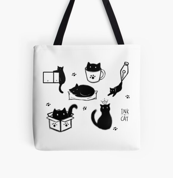 Ink Cat All Over Print Tote Bag