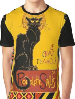 Le Chat D'Amour With Ethnic Coloured Border Graphic T-Shirt