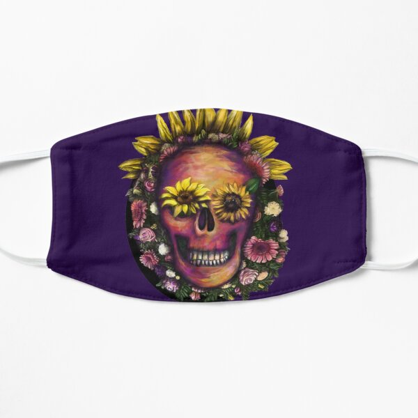 Skull and Sunflowers Flat Mask
