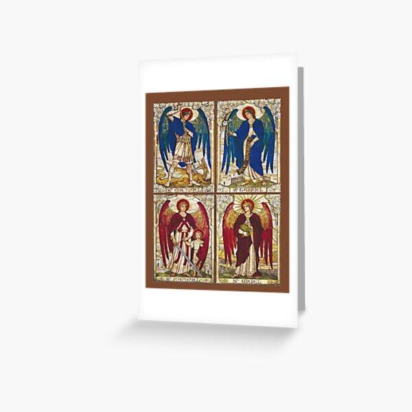 Archangels St Michael, St Gabriel, St Raphael, St Uriel Angel Catholic Saint Greeting Card