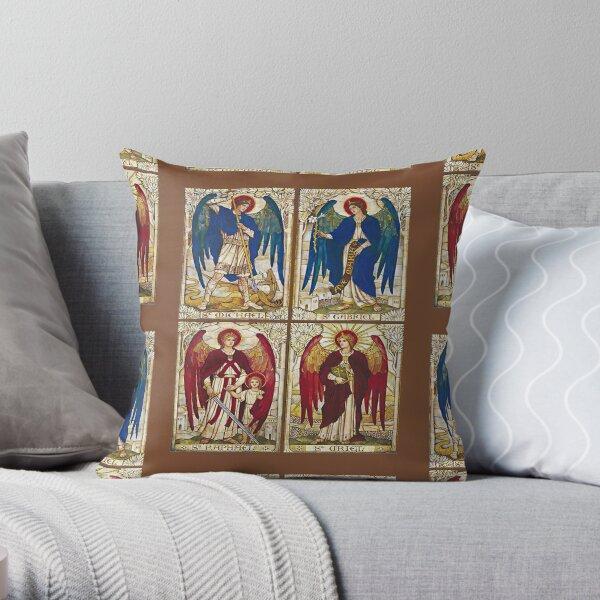 Archangels St Michael, St Gabriel, St Raphael, St Uriel Angel Catholic Saint Throw Pillow