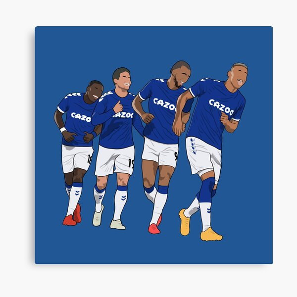 Everton Goal Celebration Richarlison Calvert Lewin Rodriguez Nkounkou Canvas Print