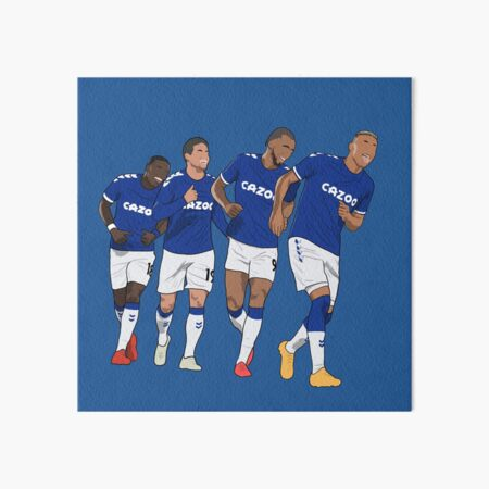 Everton Goal Celebration Richarlison Calvert Lewin Rodriguez Nkounkou Art Board Print