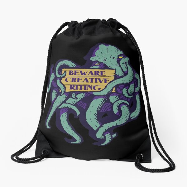 Beware Creative Riting Drawstring Bag