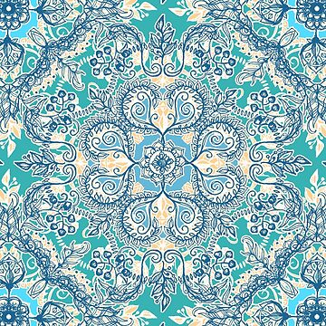 Gypsy Floral en Teal & Blue de micklyn