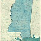 Mississippi State Map Blue Vintage by HubertRoguski