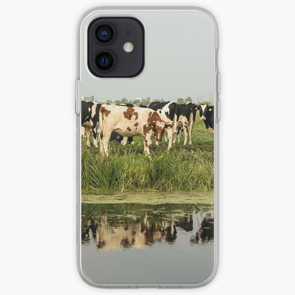 Cows and their reflective image iPhone Soft Case