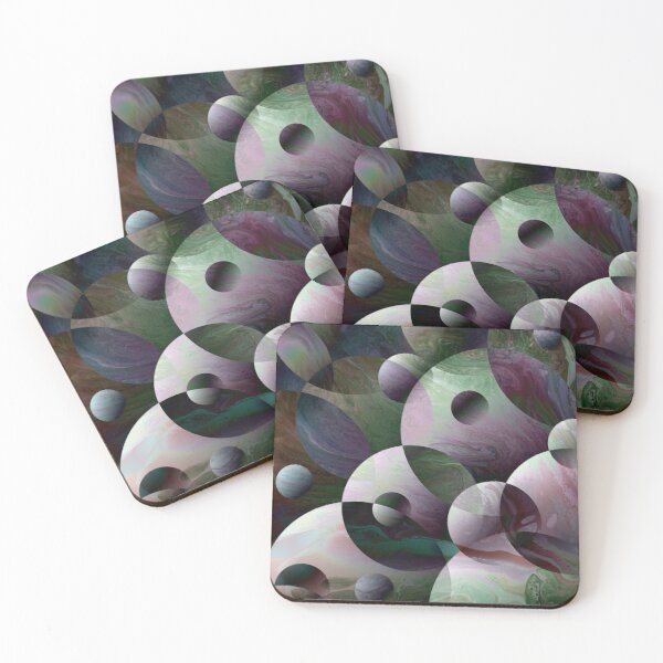 Orbs 3: round spheres abstract Coasters (Set of 4)