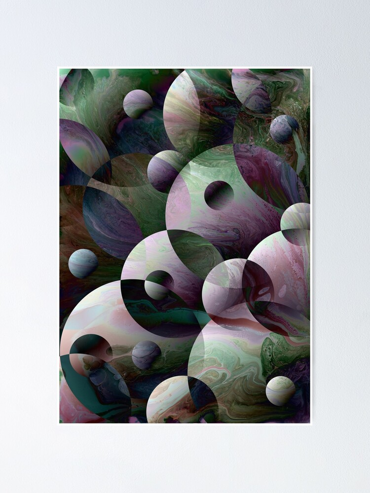 Alternate view of Orbs 3: round spheres abstract Poster