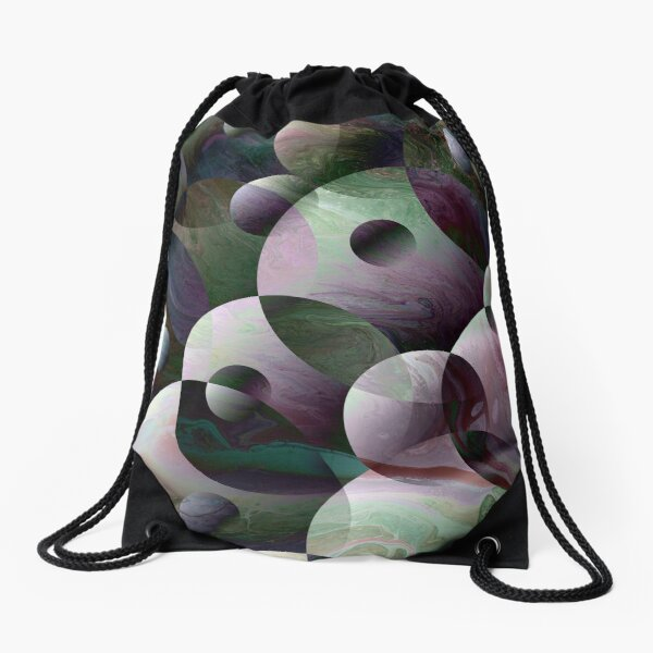 Orbs 3: round spheres abstract Drawstring Bag