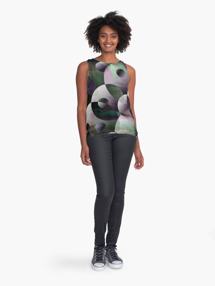 Alternate view of Orbs 3: round spheres abstract Sleeveless Top