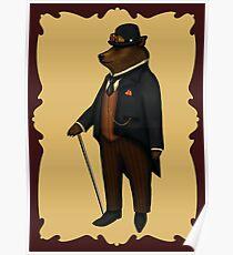 Bear in bowler hat Poster