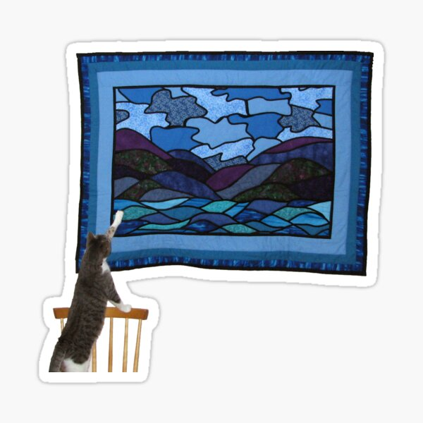 Cat observing the hanging of a quilt 2 Sticker